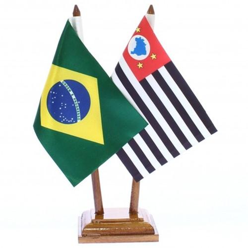Bandeira de Mesa Brasil e São Paulo 6489PM