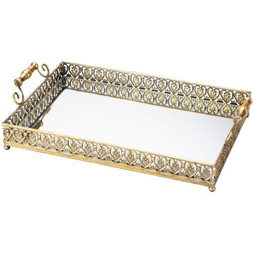 Bandeja de Ferro com Espelho Dourada Belle Epoque 3218 Lyor