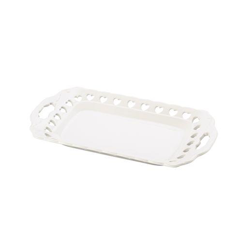 Bandeja em Cerâmica Branca com Detalhe em Coração 30,5x17cm