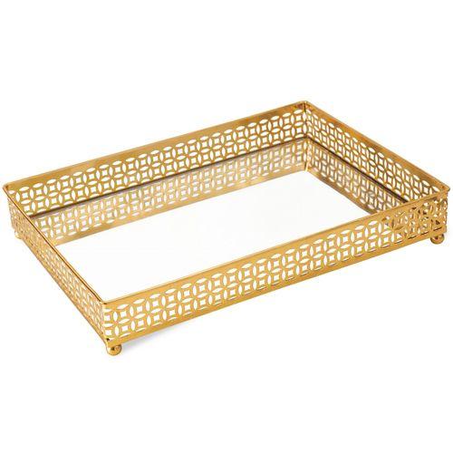 Bandeja Espelhada Dourada 27x19cm