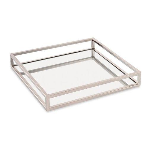 Bandeja Espelhada Quadrada Prata 26cm Mies 9636 Mart