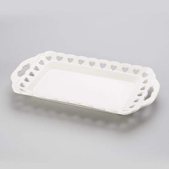 Bandeja Heart Retângular de Porcelana 36X21X4 Cm