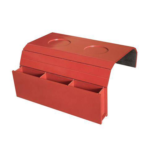 Bandeja Laqueada para Sofá Porta Copos com Porta Controle Vermelho