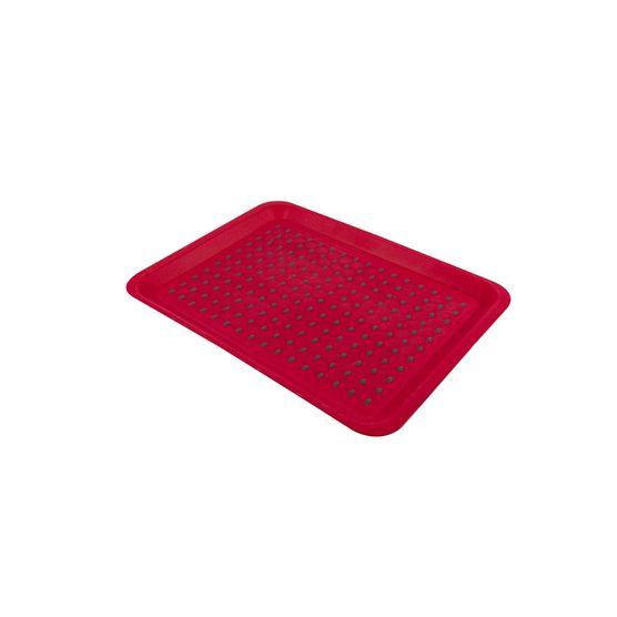 Bandeja Plástica Antiderrapante 33 X 23 Cm 22365 Vermelha