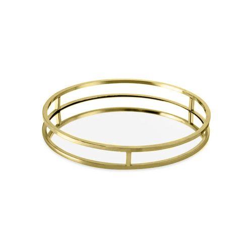 Bandeja Redonda em Metal com Espelho Mart Dourada 30cm