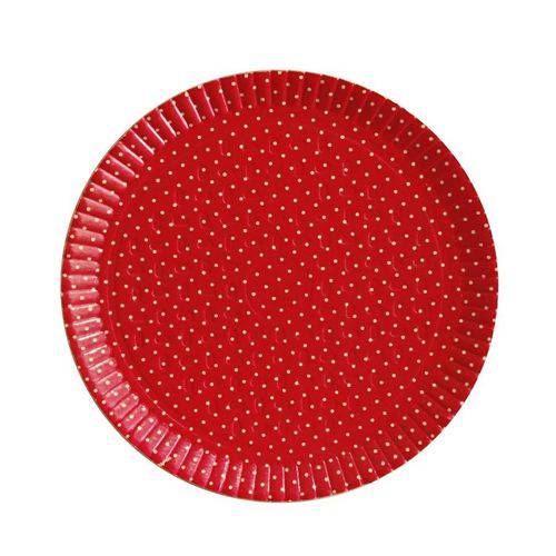 Bandeja Redonda Poá Vermelho N5