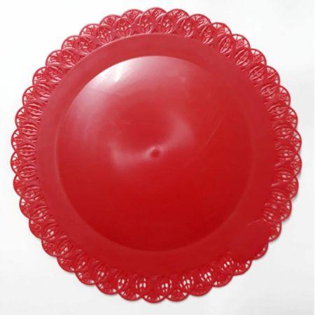 Bandeja Rendada Redonda Vermelha 32cm