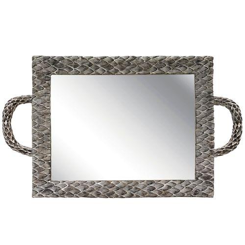 Bandeja Retangular Espelhada Raspada 25x40cm