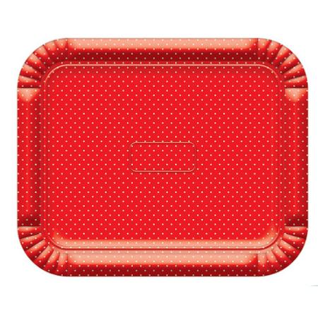 Bandeja Retangular N.6 Vermelha Poá Branco - 37cm X 46cm - Unidade