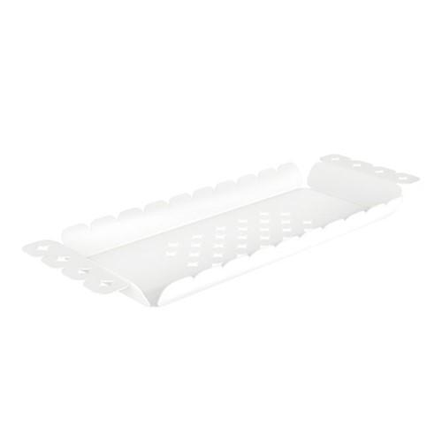 Bandeja Tramontina Retangular Branca em Aço Inox Desenhos Vazados 33 X 11 Cm Inox