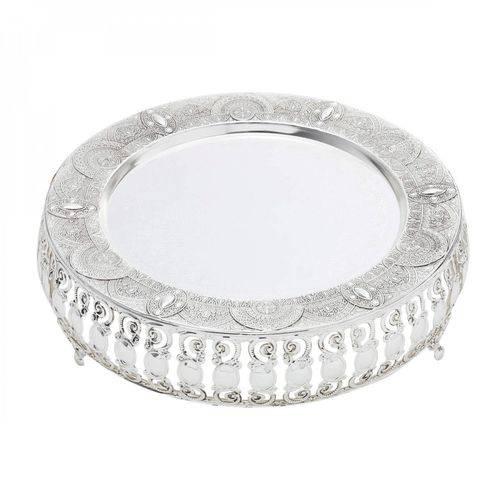 Bandeja Zamac Silver Plated Ametista Alumínio 26cm Lyor Prata