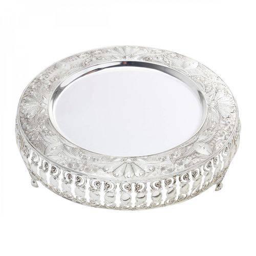 Bandeja Zamac Silver Plated Ametista Alumínio 32cm Lyor Prata