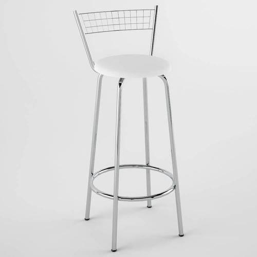 Banqueta Alta com Assento Redondo Vinil 93cm - Aço Cromado/branco