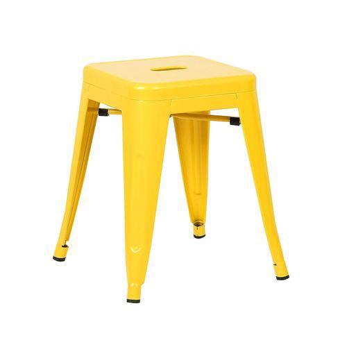 Banqueta Baixa Iron Tolix - Industrial - Aço - Vintage - Amarelo