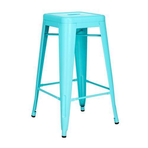 Banqueta Iron Tolix 66 Cm - Industrial - Aço - Vintage - Azul Tiffany
