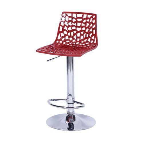 Banqueta Spider Bar Cozinha 37x81,5cm Policarbonato Vermelho