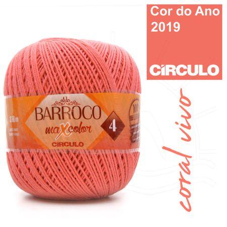 Barbante Barroco MaxColor Nº04 200g - 4004 Coral Vivo
