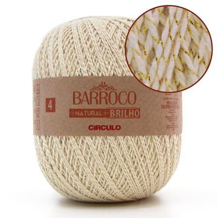 Barbante Barroco Natural Brilho Ouro Nº04 700g