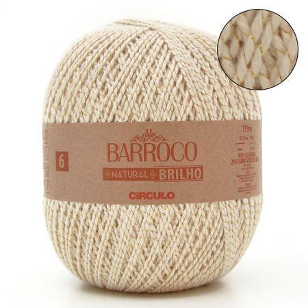 Barbante Barroco Natural Brilho Ouro Nº06 700g