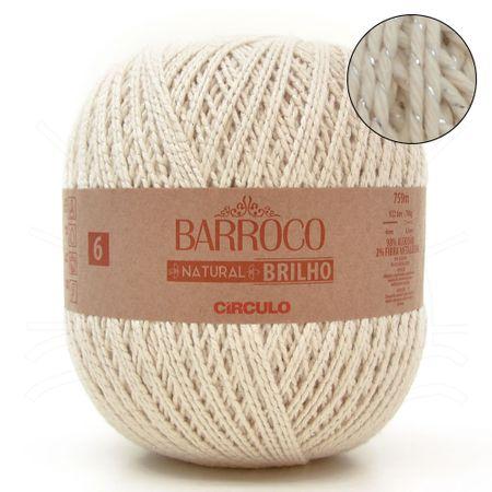 Barbante Barroco Natural Brilho Prata Nº06 700g