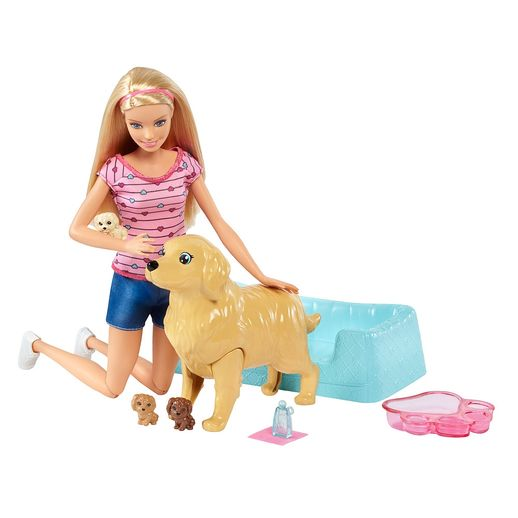 Barbie Loira Família Filhotinhos Recém Nascidos - Mattel