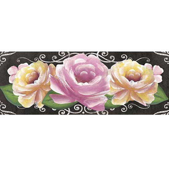 Barra Adesiva Litoarte BA1-IV-077 Flores Rosas com Fundo Preto By Lili Negrão