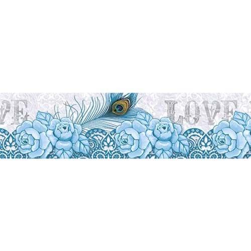 Barra Adesiva Litoarte BDA-IV-613 Flor Azul 43,6x4cm