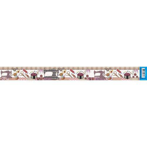 Barra Adesiva para Decoupage Litoarte 43,6 X 4 Cm - Modelo Bda-Iv - 423 Costura