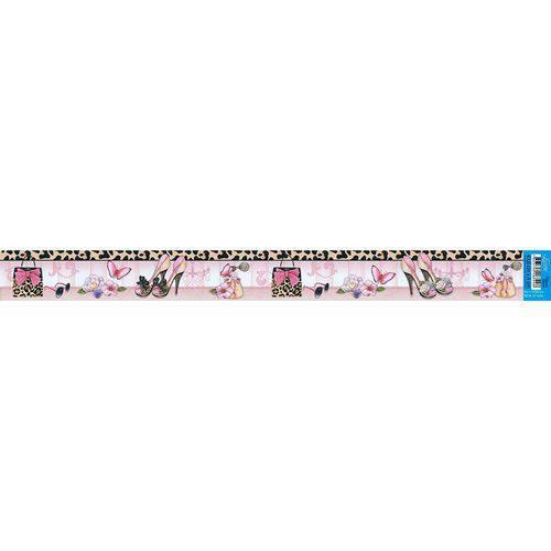 Barra Adesiva para Decoupage Litoarte 43,6 X 4 Cm - Modelo Bda-Iv - 636 Sapatos com Flores