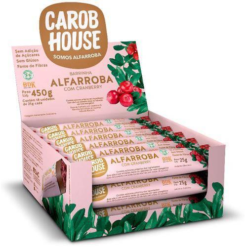 Barra de Alfarroba com Cranberry - Caixa com 18 de 25g - CarobHouse