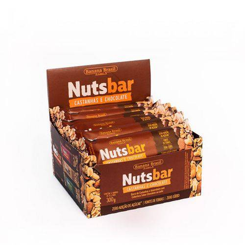 Barra de Castanhas e Chocolate Nuts Bar Banana Brasil 12x25g