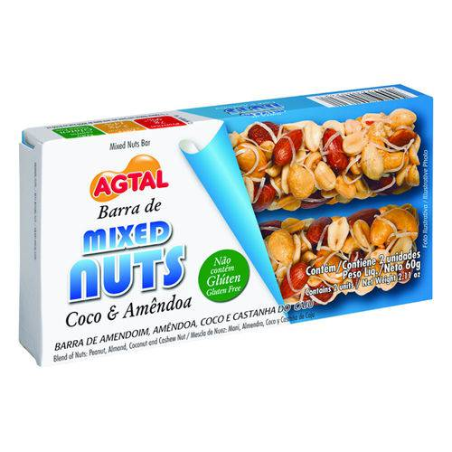 Barra Mixed Nuts Coco Amendoa 30g C/2 - Agtal