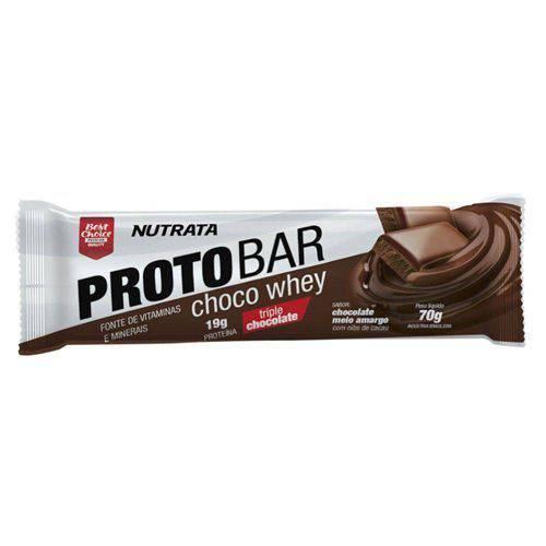 Barra Proto Bar - 1 Unidade de 70g Chocolate Meio Amargo com Nibs de Cacau - Nutrata