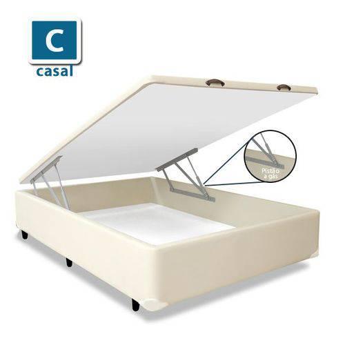 Base Box Baú Casal Suede Bege