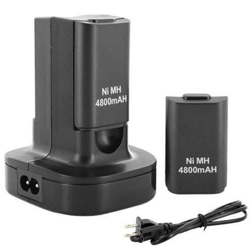 Base Carregadora Dupla Bateria Xbox 360 Tomada + 2 Baterias