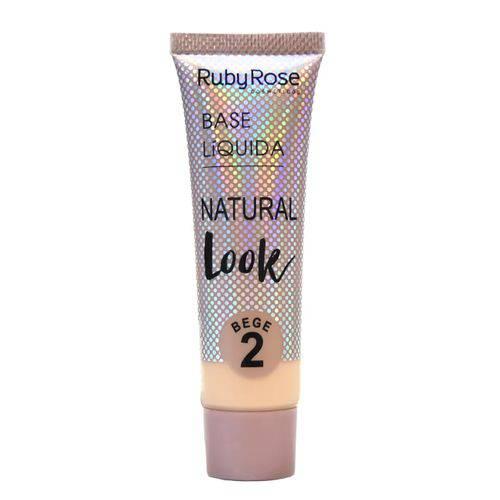 Base Líquida Ruby Rose Natural Look Cor Bege 02 - 29ml Hb-8051