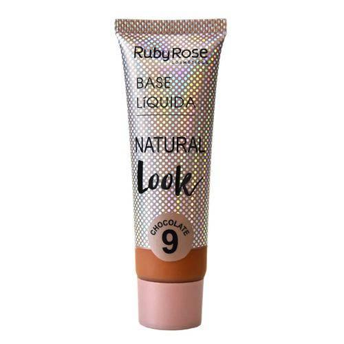 Base Líquida Ruby Rose Natural Look Cor Chocolate 09 - 29ml Hb-8051