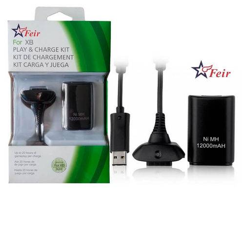 Bateria 12000mah Recarregável + Cabo Carregador para Controle Wireless de Xbox 360 Feir Fr-302