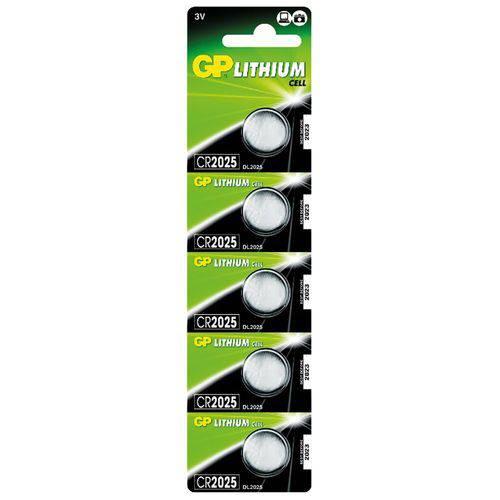 Bateria Lithium Gp Cr2025 Coin Cell 3v 160 Mah Blister com 5