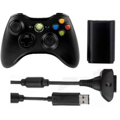 Bateria para Controle Xbox 360 com Cabo e Carregador Preto Original
