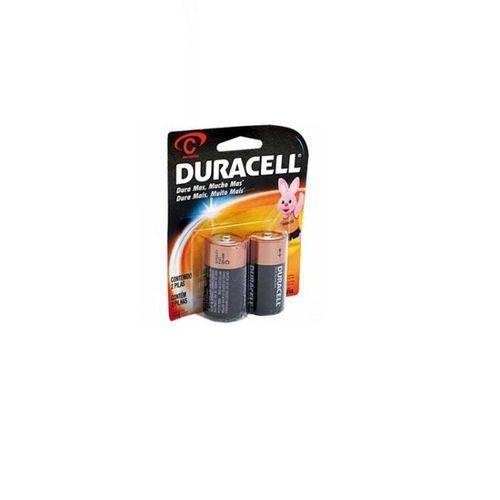 Bateria Pilha Alcalina Média com 02 Duracell
