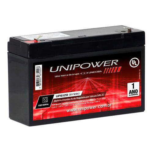 Bateria Selada UP6120 6V/12Ah UNIPOWER