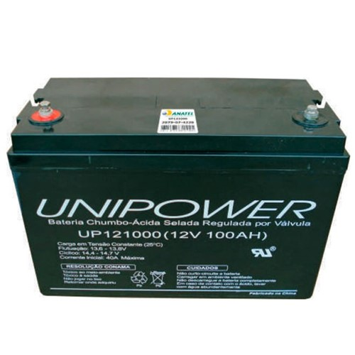 Bateria Selada VRLA 12V 100AH M8 UP121000 RT 06C095 - Unipower - Bateria Selada VRLA 12V 100AH M8 UP121000 - Unipower
