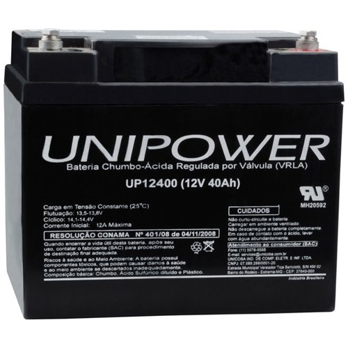 Bateria Selada VRLA 12V 40,0AH M6 UP12400 RT 06C043 - Unipower - Bateria Selada VRLA 12V 40,0AH M6 Up12400 RT 06C043 - Unipower