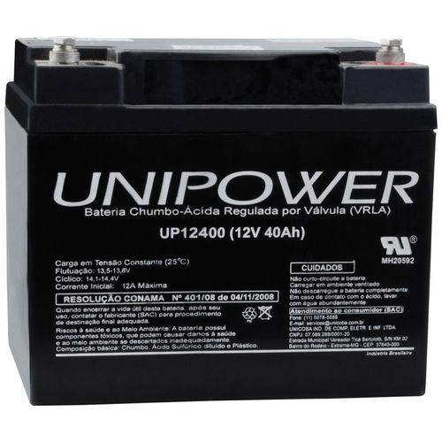 Bateria Selada Vrla 12v 40,0ah M6 Up12400 Rt 06c043 - Unipower