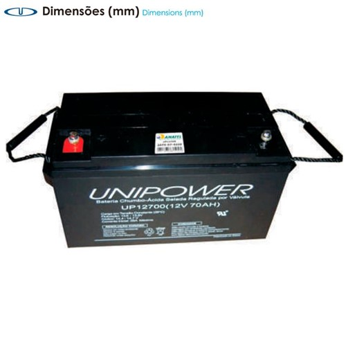Bateria Selada VRLA 12V 70,0Ah UP12700 (G) – Unipower