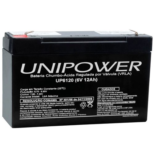 Bateria Selada VRLA 6V 12,0Ah F187 UP6120 – Unipower