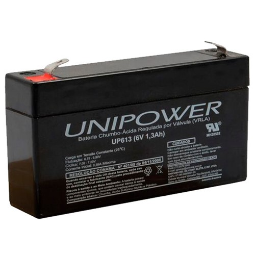 Bateria Selada VRLA 6V 1,3Ah F187 UP613 – Unipower