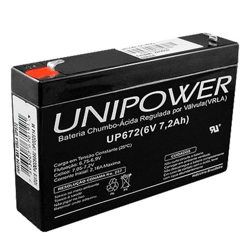 Bateria Selada VRLA, 6V, 7.2 Ah F187 UP672 – Unipower