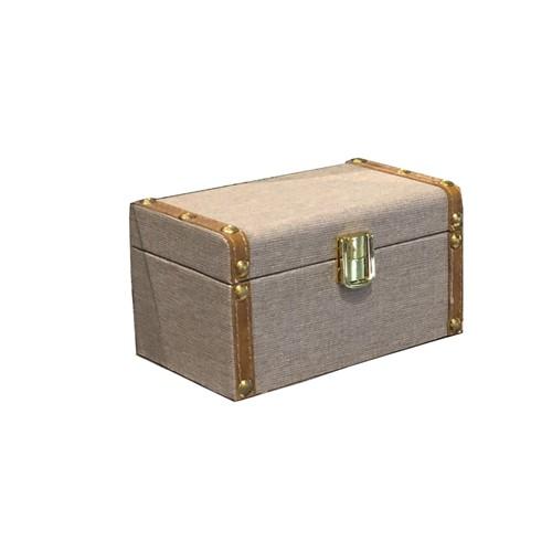 Baú Mescla Linho com Dourado 10x17x10 Cm - Occa Moderna